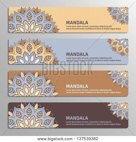Colorful set of ornamental banners with flower mandala in beige blue brown plum colors. Vintage decorative elements. Vector illustration.