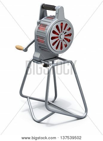 Hand crank fire siren on white background - 3D illustration