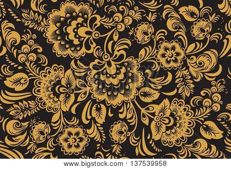 Seamless floral pattern with ornamental flowers in Khokhloma style. Floral design. Traditional russian Hohloma ornament with flowers in gold, yellow and black colors. Vector illustration