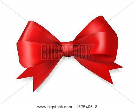 red silky bow ribbon on white background. holidays gift symbol decorative design element. vector