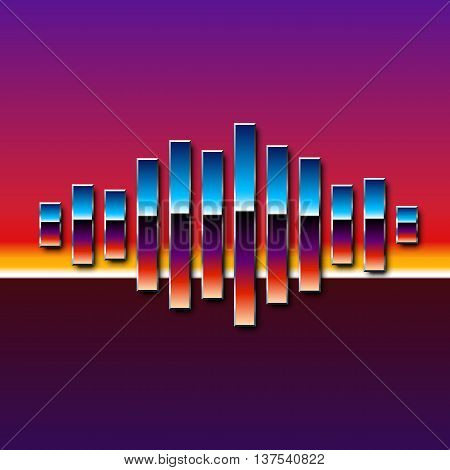 80s styled sound wave. 1980 chrome design