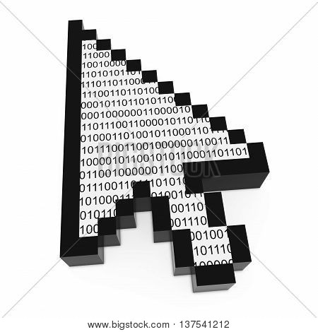 Binary Code Pixelated Computer Arrow Cursor 3D Illustration