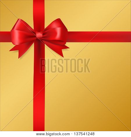 red silky bow ribbon on golden background. holidays gift symbol decorative design element. vector