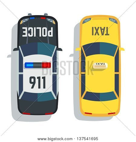 Police and taxi cars top view vector set. Car for taxi and police, illustration transport taxi and auto police view top