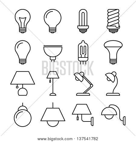 Lamp line vector icons. Set of lamp in linear style. Lamp for energy saving and conservation illustration