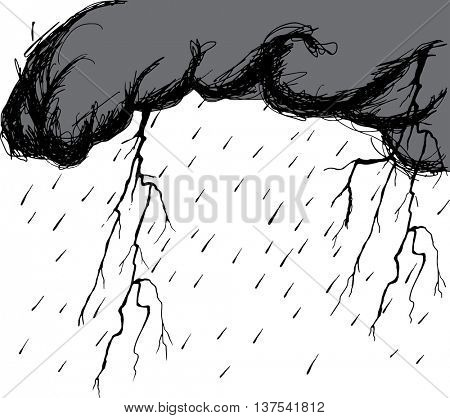 Storm clouds with raindrops and thunderbolt flashes. Hand drawn vector illustration.