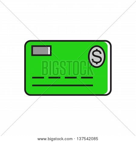 Illustration of credit card with dollar sign. Finance, non-cash money, payment. Money concept. Can be used for topics like money, finance, banking.