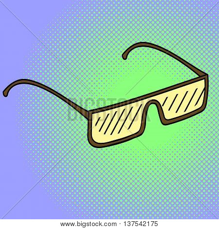Glasses Pop art vector illustration. Beautiful style comic sunglasses. Hand-drawn eyeglasses