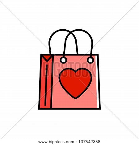 Illustration of shopping bag with heart picture. Shopping, present, package. Shopping concept. Can be used for topics like shopping, commerce, present