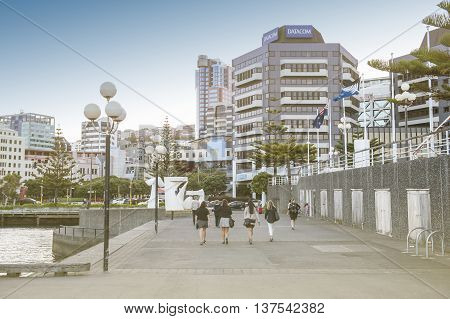 Wellington New Zealand - March 3 2016: Wellington CBD on waterfront north island of New Zealand