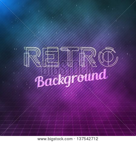 Illustration of Retro Neon Background. 1980 Neon Poster. Retro Disco 80s Background with Triangles, Flares, Partickles