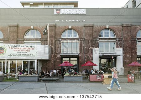 Wellington New Zealand - March 3 2016: Restaurants at Wellington waterfront north island of New Zealand