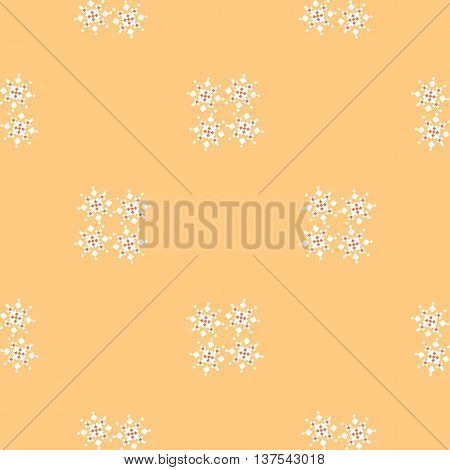 Buttercream colored simple geometric pattern with snowflakes. Abstract pattern for covers web page backgrounds. Vector fabric texture.