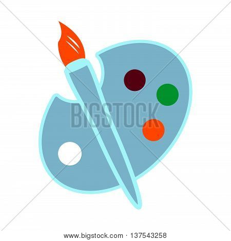 Palette Icon. Easel Flat  Color Design On White Background. Vector Illustration.
