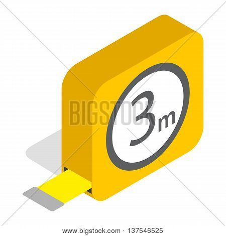 Tape measure roulette icon in isometric 3d style isolated on white background