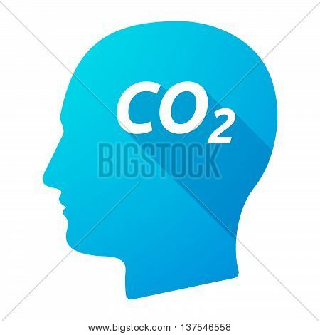 Isolated Long Shadow Male Head With    The Text Co2