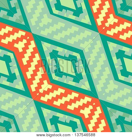 Turquoise green diagonal african geometric pattern. Abstract ethno pattern for covers web page backgrounds. Vector fabric texture.