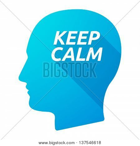 Isolated Long Shadow Male Head With    The Text Keep Calm