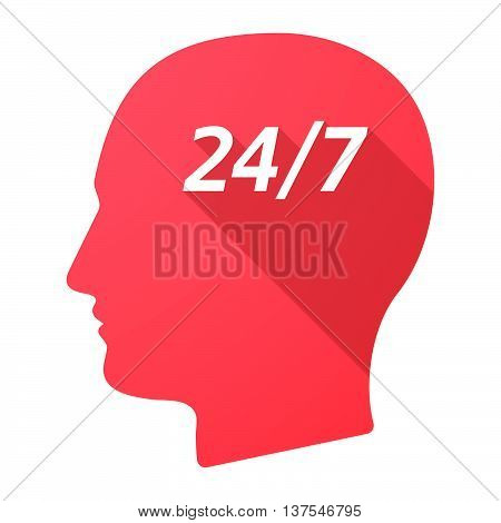 Isolated Long Shadow Male Head With    The Text 24/7