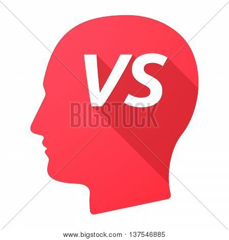 Isolated Long Shadow Male Head With    The Text Vs