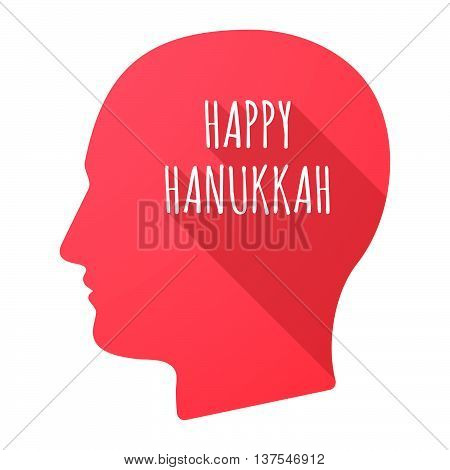 Isolated Long Shadow Male Head With    The Text Happy Hanukkah