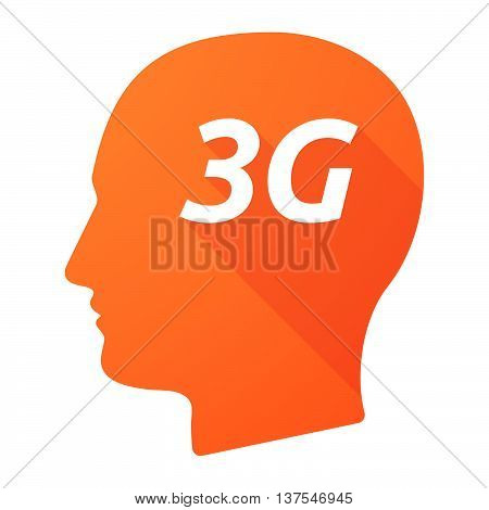 Isolated Long Shadow Male Head With    The Text 3G
