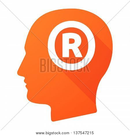 Isolated Long Shadow Male Head With    The Registered Trademark Symbol