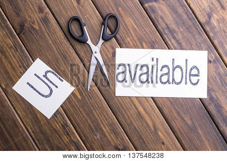 cut paper with word unavailable