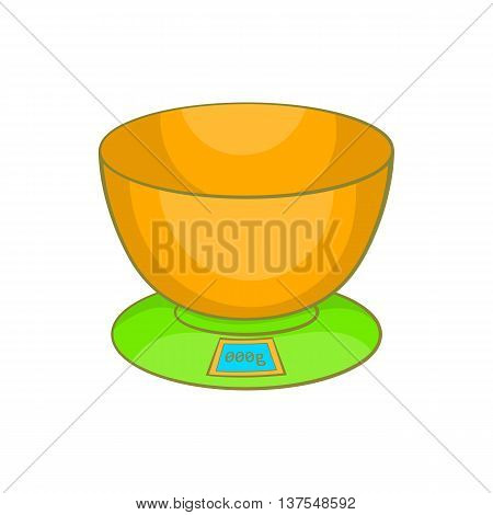 Kitchen scales icon in cartoon style isolated on white background. Appliances symbol