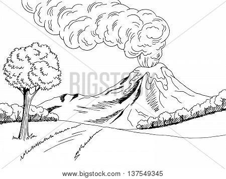 Volcano mountain hill road graphic art black white sketch landscape illustration vector