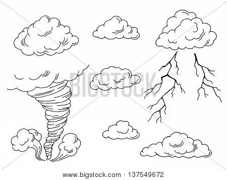 Clouds set graphic tornado lightning black white isolated illustration vector