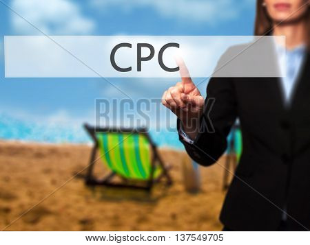 Cpc - Successful Businesswoman Making Use Of Innovative Technologies And Finger Pressing Button.