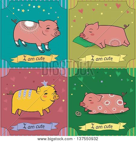 Set of cartoon pigs. Vintage greeting cards. Pigs with skates pillow crown and cake. Banners for custom text. Vector illustration. EPS 8
