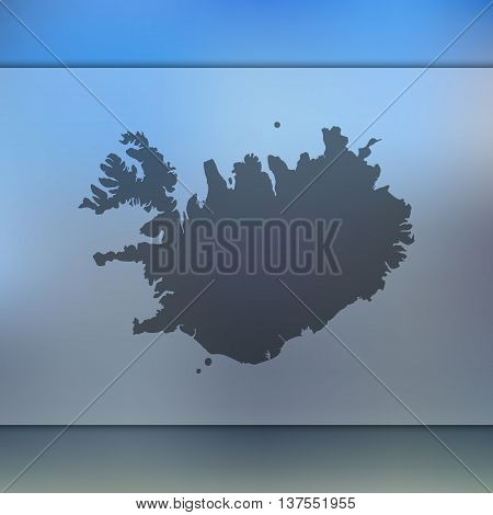 Iceland map on blurred background. Blurred background with silhouette of Iceland. Iceland.