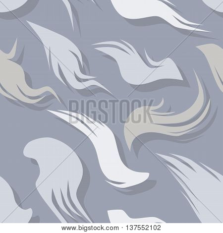 Seamless pattern with fuzzy feathers with shadows. Repeating texture.