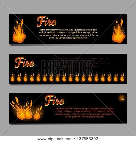 Banners set vector with bright fire flame