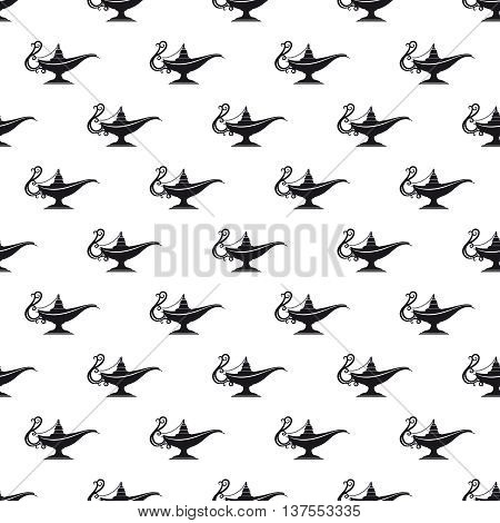 Black and white aladdin lamp seamless texture vector