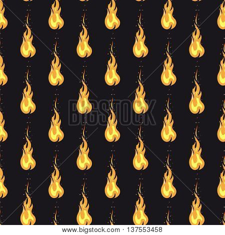 Seamless pattern with bright fire on black background. Vector illustration