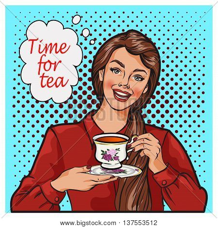 Pop Art illustration of woman with morning cup of tea. Pin-up girl speech bubble. Fashion sexy wife hand drawn vector illustration Background