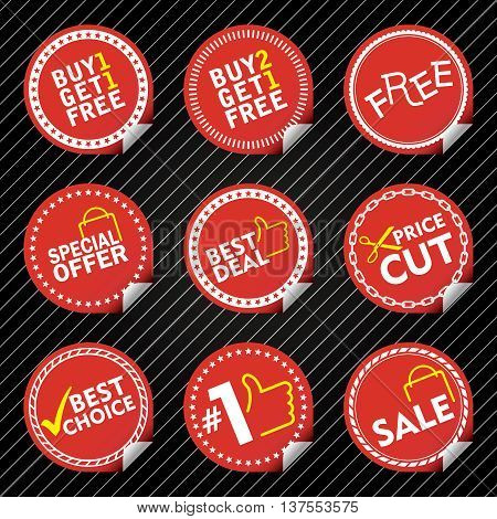 Red Sale Stickers with tab different border style