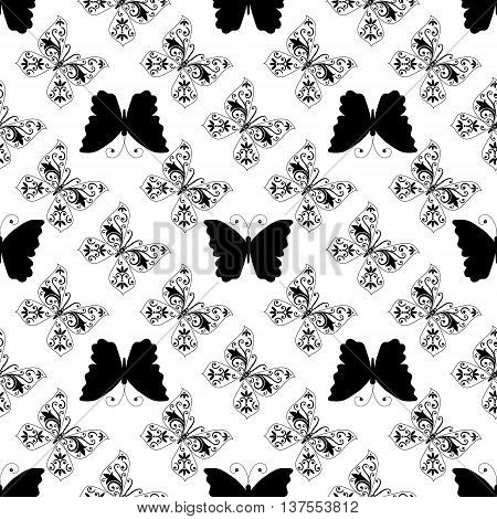Seamless pattern of graphic vintage black lace and butterflies. Without background. Vector