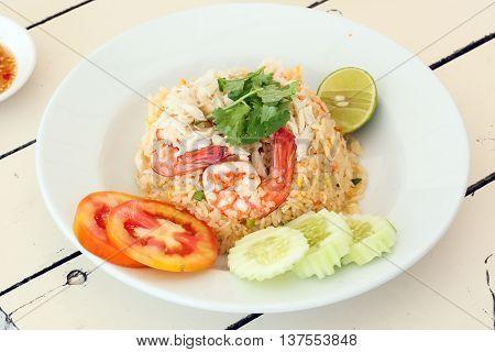 Seafood Fried Rice Thai style with brawn calamari cuttlefish crab