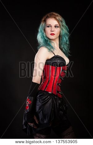 Fetish Alternative Looking Model With Colored Hairs