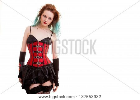 Alternative Model In Stockings And Corset Isolated On White Background