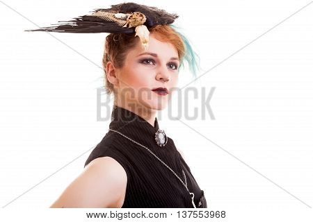 Portrait Of Woman In Captain Pirate Costume