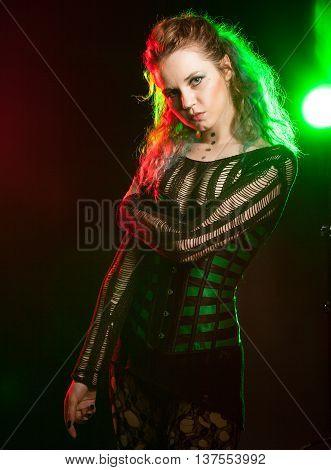 Fetish Model In Fashion Studio Lighting