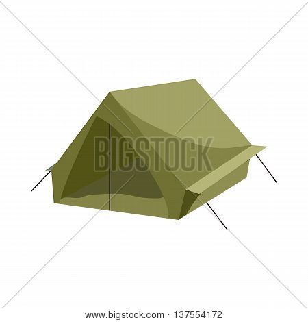 Hiking tent icon in cartoon style isolated on white background. Tourism symbol