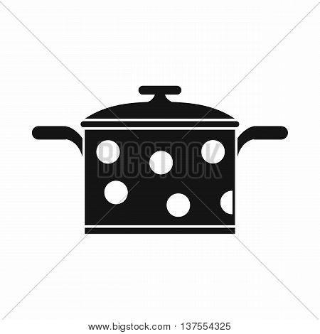 Saucepan with white dots icon in simple style isolated vector illustration