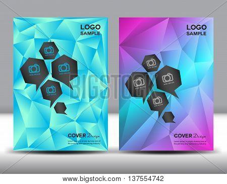 set Cover Annual report template, brochure flyer, polygon background,catalog,booklet, leaflet, magazine ads vector illustration