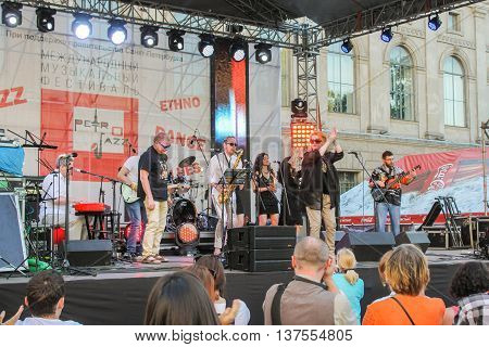 St. Petersburg, Russia - 2 July, Musicians on the outdoor stage in front of the audience, 2 July, 2016. Annual international festival of jazz and blues in St. Petersburg.